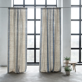 Linen Rod Pocket Curtain Panel Indigo Natural Provence