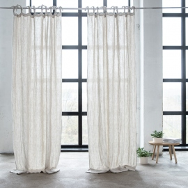 Linen Curtain Panel with Ties Oatmeal Rustico Washed