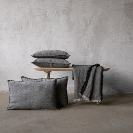 Linen Cushion Cover Natural Black Rustico Washed