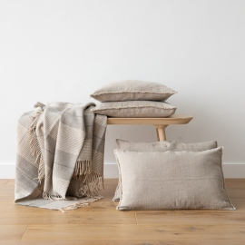 Linen Cushion Cover Natural Terra Fringe