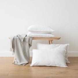 Linen Cushion Cover Optical White Terra Fringe