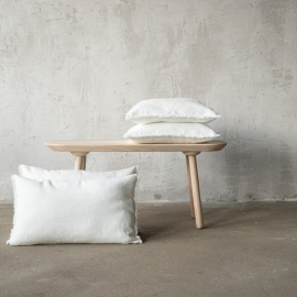 Linen Cushion Cover Off White Terra Fringe
