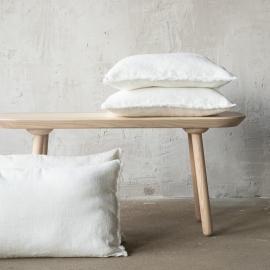 Linen Cushion Cover Off White Terra Fringe