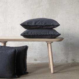 Linen Cushion Cover Charcoal Terra Fringe