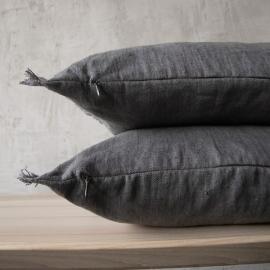 Linen Cushion Cover Graphite Terra Fringe