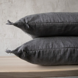 Linen Cushion Cover Graphite Terra Fringe