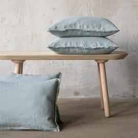Linen Cushion Cover Ice Blue Terra Fringe