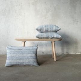 Linen Cushion Cover Indigo Natural Multistripe
