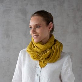 Mustard Linen Summer Scarf Garza