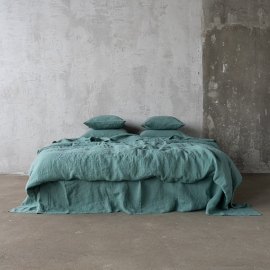 Moss Green Linen Bed Set Stone Washed