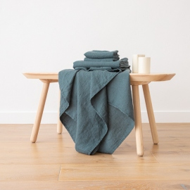 Balsam Green Linen Bath Towels and Hand Towels Set Washed Waffle