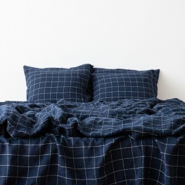 Navy White Window Pane Washed Bed Linen Duvet