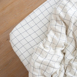 White Navy Window Pane Washed Bed Linen Fitted Sheet