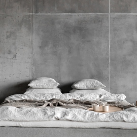Silver Linen Bed Set Stone Washed Rhomb