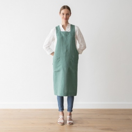 Stone Washed Linen Back Cross Apron Moss green