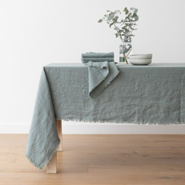 Linen Tablecloth Spa green Terra Fringe