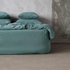 Moss Green Linen Deep Fitted Sheet Stone Washed