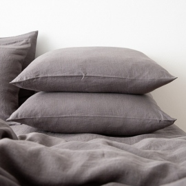 Washed Bed Linen Pillow Case Graphite