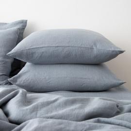 Washed Bed Linen Flat Sheet Slate Blue