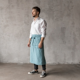 Washed Linen Men's Chef's Apron Ice Blue