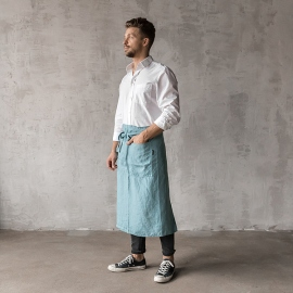 Washed Linen Men's Chef's Apron Stone Blue