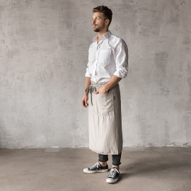 Washed Linen Men's Chef's Apron Taupe