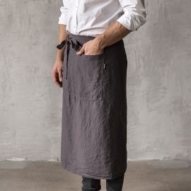 Washed Linen Men's Chef's Apron Grey