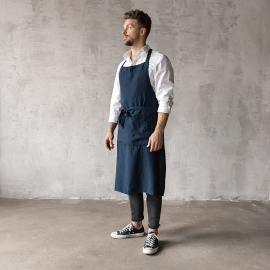 Washed Linen Men's Bib Apron Indigo