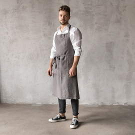 Washed Linen Men's Bib Apron Steel Grey