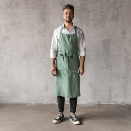Washed Linen Men's Bib Apron Spa Green