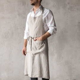 Washed Linen Men's Bib Apron Silver