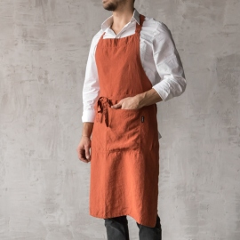 Washed Linen Men's Bib Apron Brick