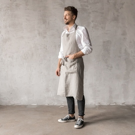 Washed Linen Men's Bib Apron Taupe