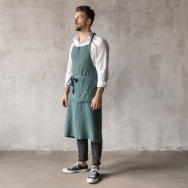 Washed Linen Men's Bib Apron Navy Blue