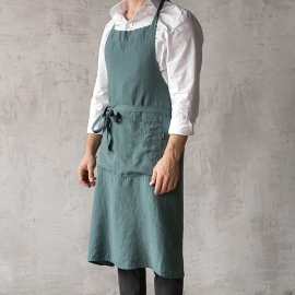 Washed Linen Men's Bib Apron Balsam Green
