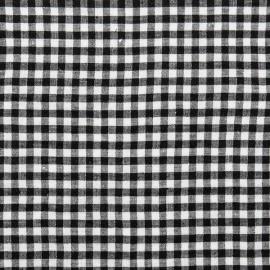 Black White Gingham Linen Fabric Sample