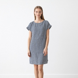 Navy Check Linen Dress Adel