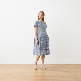 Blue White Check Linen Dress Adel
