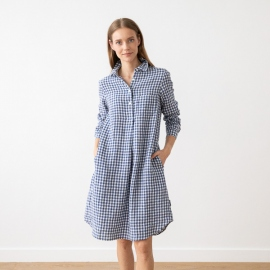 Navy Check  Linen Dress Camilla