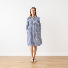 Blue White Check  Linen Dress Camilla