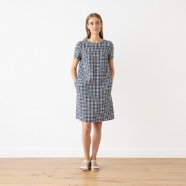 Navy Check Linen Dress Alice