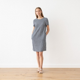 Navy Check Linen Dress Isabella