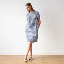 Blue White Check Linen Dress Alice