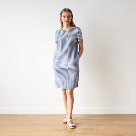 Blue White Check Linen Dress Isabella