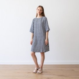 Navy Check Linen Dress Luisa