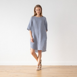 Blue White Linen Dress Check Luisa