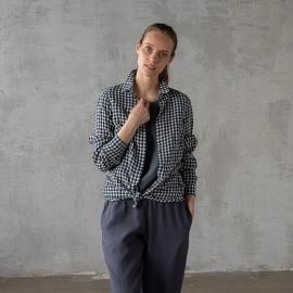 Navy Check Linen Shirt Dress Paula