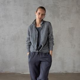 Navy Check Linen Shirt  Ernesto