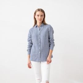 Blue White Check Linen Shirt  Ernesto