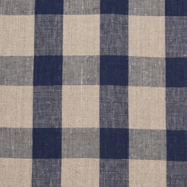 Linen Fabric Washed Large Check Navy Natural
